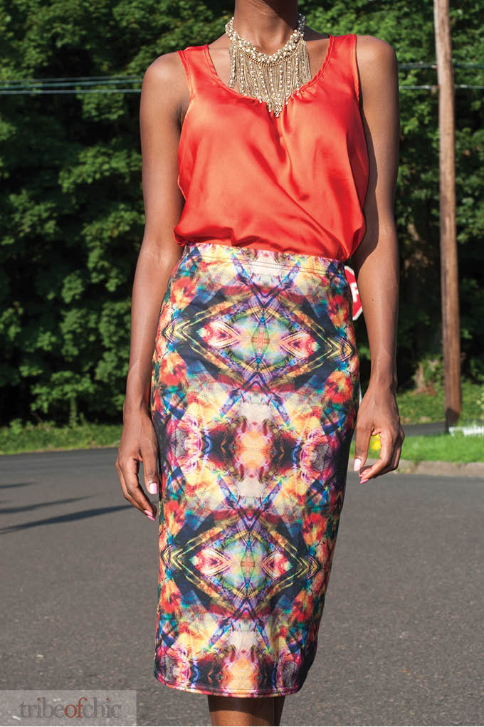 Graphic Pencil Skirt Outfit