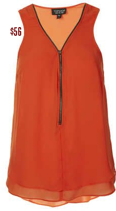 Sleeveless burnt orange top