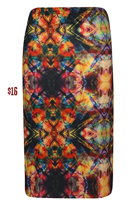Multicolour Print midi Skirt