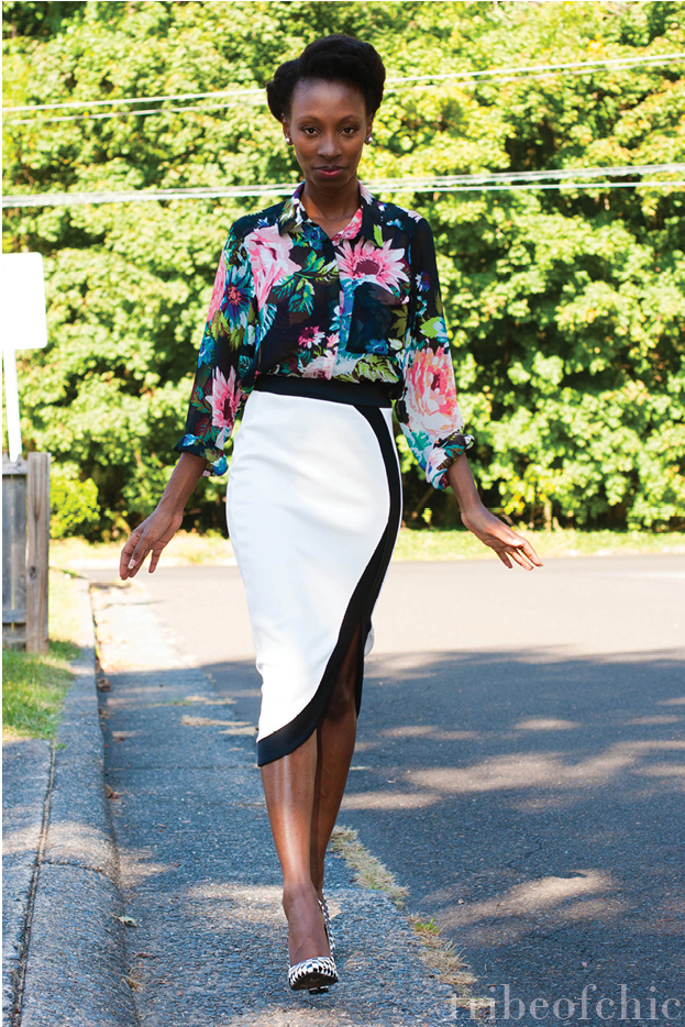 Black And White Pencil Skirt - Skirts