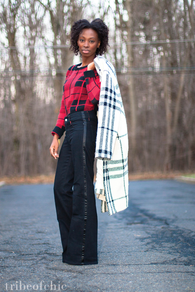 plaid outfit with wide leg jeans