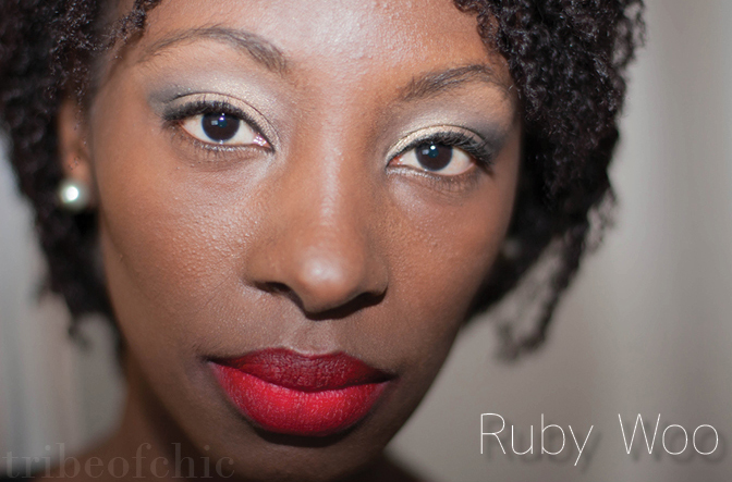 Ruby Woo lipstick swatch