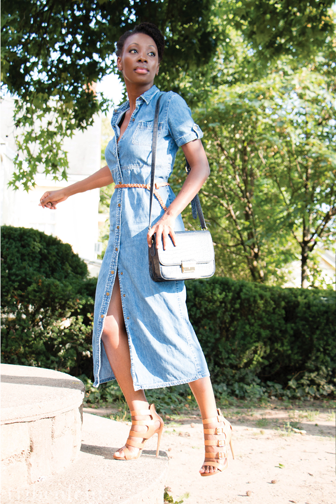 what to wear with a denim dress