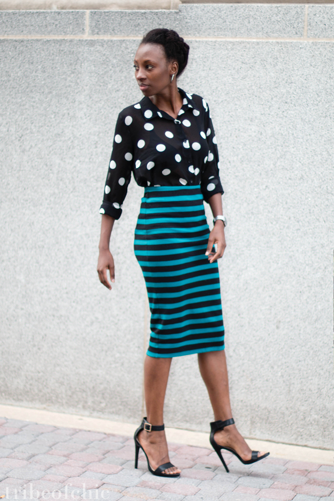Mixing prints and patterns with stripes and polka dots
