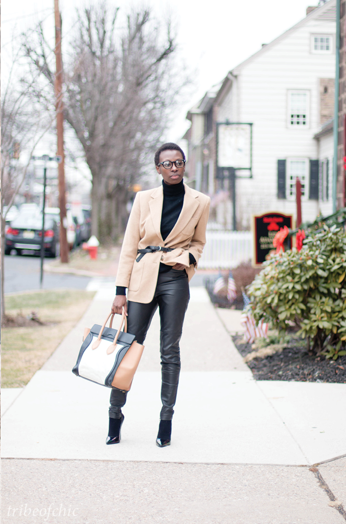 leather pants with camel jacket