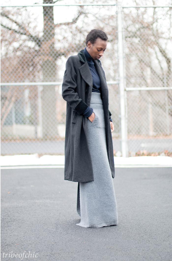 gray winter maxi skirt