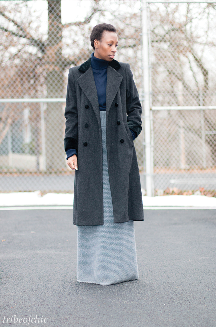 gray winter maxi skirt