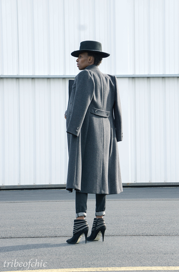 long grey coat with ankle boots