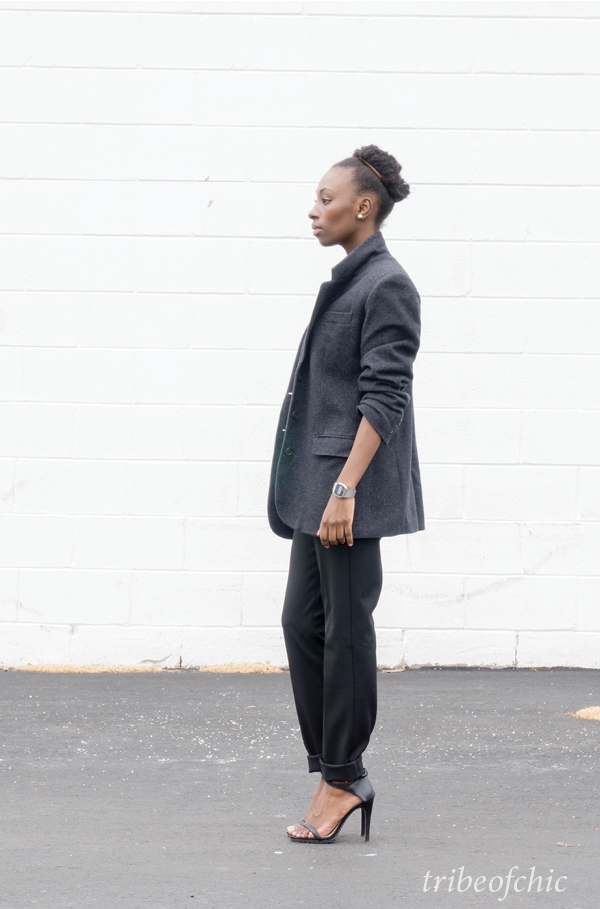 black trousers with gray blazer