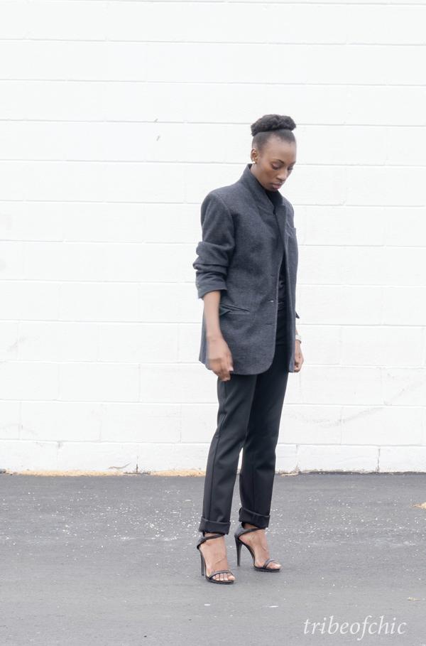 black trousers with gray blazer