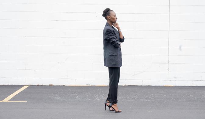 black trousers with grey blazer