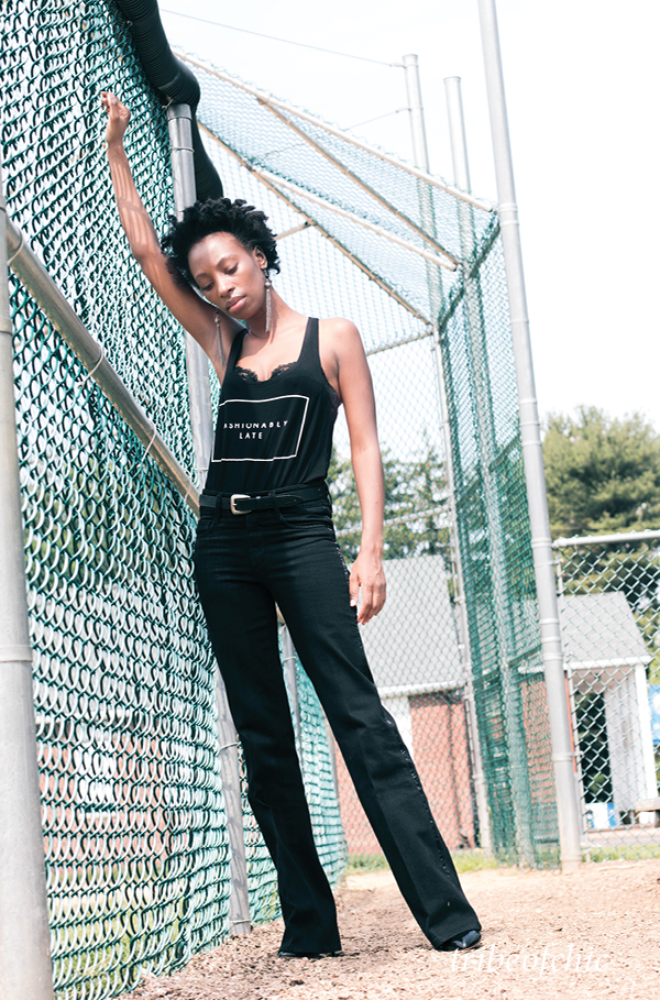 All Black Outfits: Flare Jeans